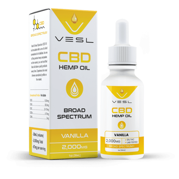 CBD hemp oil vanilla flavor with box. 2000mg total. THC free and lab tested product.