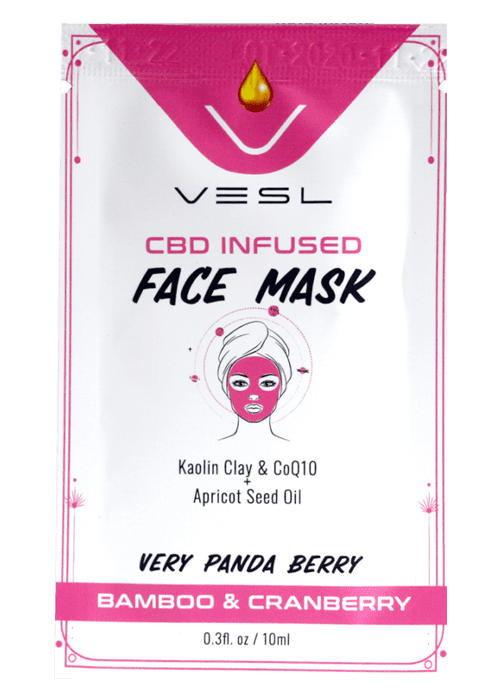 CBD infused face mask. Kaolin clay and C0Q10 + apricot seed oil. Bamboo and Cranberry