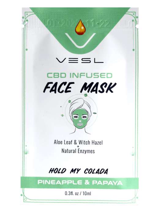 CBD infused face mask. Aloe leaf ad witch hazel + natural enzymes. Pineapple and papaya